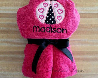 Your Little Girl will Love This Lady Bug Hooded Towel, Girls Towel, Lady Bug, Beach Towel,Bath Towel Embroidered, Monogrammed, Personalized
