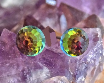 Swarovski 6mm Faceted Ball Rhinestones, Crystal Stud-Post Earrings, 1 Pair, Surgical Steel Posts, 6 Colors