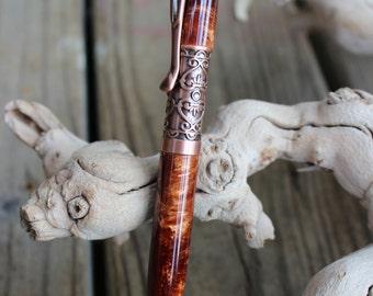 Handturned Filibella Twist Pen with Molten Bronze in Antique Copper, handmade pen, handcrafted pen