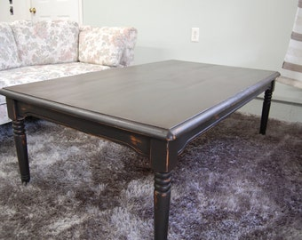 Large Black Distressed Solid Wood Coffee Table