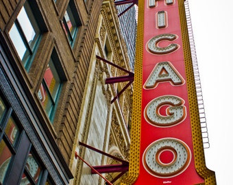 Chicago Theater, Chicago Art Print, Chicago Photo, Architecture Photography, Vintage Sign, Retro Inspired Art, Red and Yellow, Red and Teal