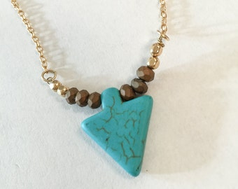 TURQUOISE ARROW PENDANT Dainty Gold Chain Necklace, 14K Gold Fill Chain, Gold Fill Beads, Layering and Everyday Wear Southern Bliss Designs
