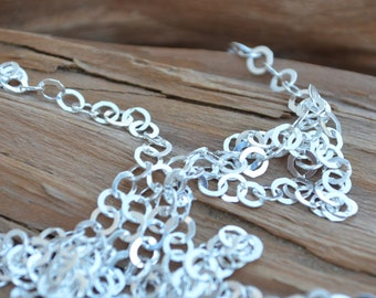 BULK CHAIN Unfinished 3.5mm Sterling Silver,Flat Circle- Cable Chain (sold by the foot)-Necklace or Bracelet Link Chain - Made in Italy