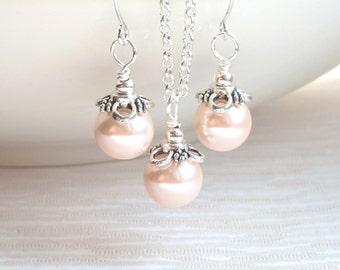 Set of 4, Blush Bridesmaid Jewelry set of 4 Necklaces, Earrings, Bridesmaid Gift 4, Blush Jewelry, Wedding Jewelry Gift, Bridesmaid Jewelry