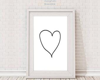 Coração, Heart, Digital art work, Wall art, Printable, Home decor, Black and white