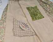 Half Apron, Vintage Tea Towel hand stitched, with pocket