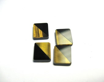 Tiger Eye and Onyx signets 12x10 rectangles..4 pieces per lot.