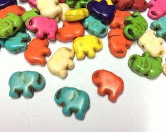 Elephant Gemstone Beads - Elephant Mixed Turquoise - Elephant Turquoise Gemstone - 10 pcs