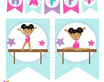 Dark Girls Gymnastics Printable Party Banner, Printable Gymnast Happy Birthday Banner, Gymnastics Party Garland, Flag Banner, Gymnastics