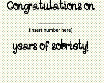 Custom Congratulations Funny Sobriety Card