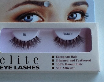 Human hair false eyelashes #18 brown