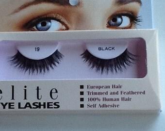 Human hair false eyelashes #19 black