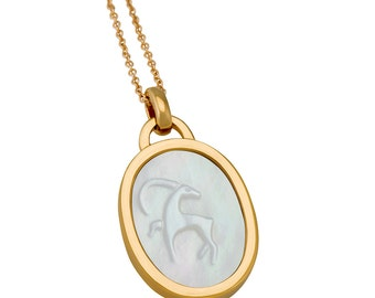 Capricorn Mother Of Pearl Zodiac Charm Necklace