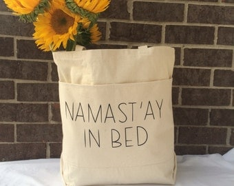 Namastay In Bed Tote Bag.Work Out Tote.Gym Bag.Large Canvas Tote Bag With Pockets.Gift for Her Under 30.Yoga Tote Bag.Weekender Bag.