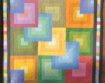 Modern Quilt for sale, rainbow quilt, wall hanging, rainbow patchwork, geometric quilt, modern wall hanging, Kona Solids Quilt