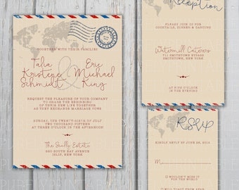 Airmail Printable Wedding Invitation Package For Travel Themed Weddings