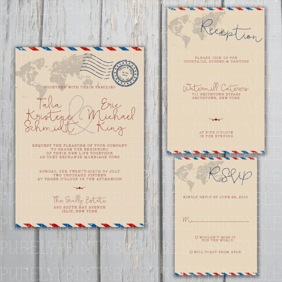 Airmail Wedding Invitations: Airmail Printable Wedding Invitation Package For Travel-Themed