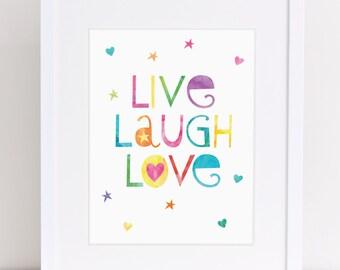 Live Love Laugh, Kids Wall Art, Teen Decor, Playroom Printable, Colorful Kids Art, Kids Bathroom Art, Girls Room Decor, Gift for Girl