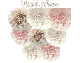 BRIDAL SHOWER Tissue Paper Pom Pom Decorations - Set of 8 Tissue Poms - Dusty Rose, Birch White and Champagne - Bridal Shower
