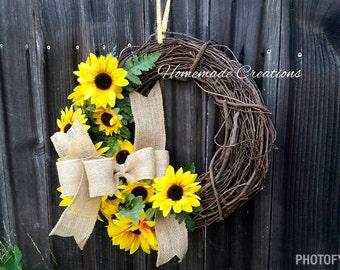 Sunflower   Sunflower Wreath - Yellow Sunflower- Spring Wreath- Rustic Sunflower Wreath - Rustic Wreath - Door Decor - Front Door Decor