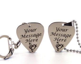 Personalised Engraved Stainless Steel Guitar Pick Plectrum Keyring/Necklace GIFT - Black Gift Box