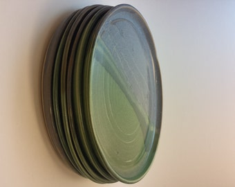 Light blue and green 10-inch dinner ceramic plates - set of 6 pottery dishes