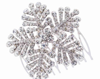 Beautiful Bridal Austrian Crystal Snowflake Hair Comb Winter Wedding Hair Accessory Bridal Hair Accessory