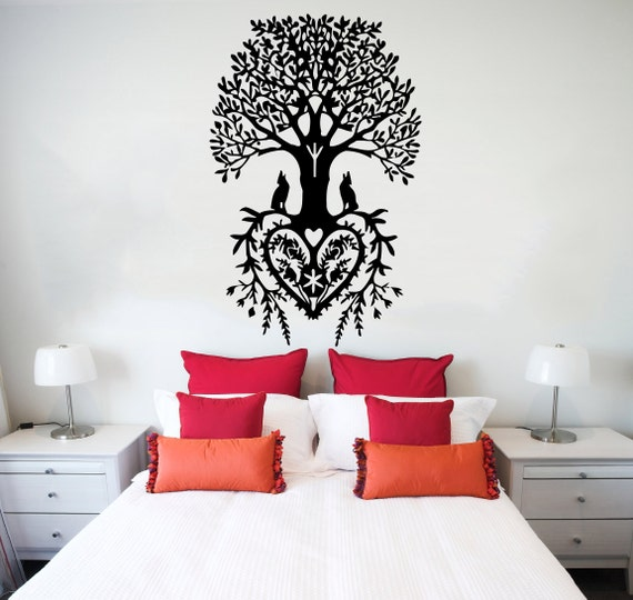 Wall Decal Tree Roots Heart Flowers Wolf Vinyl Sticker Decals Home Decor Bedroom Art Design Interior