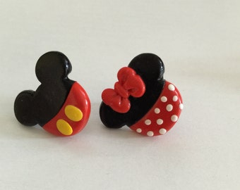 Disney's Mickey and Minnie Mouse Stud Earrings. Handmade Mickey and Minnie Mouse Earrings. Minnie Mouse. Mickey Mouse. Nickel Free.