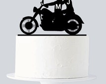 Motorcycle Cake Topper, Rustic Motorcycle Cake Topper, Custom First Name Initial, Bike Cake Topper A901