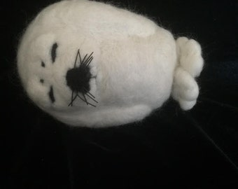 Needle Felted White Baby Seal