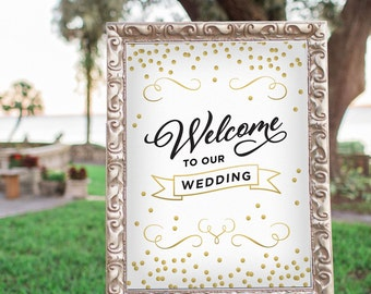 Printable Wedding Sign, Welcome Sign, Gold Foil Sign, Wedding Decor, Black and Gold Wedding Decor, Gold Confetti