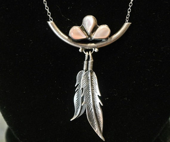 Mother of Pearl Pink MOP Pendant Sterling Silver Necklace Double Feather Pendant Native American Tribe Tribal Teardrop Fancy Southwestern