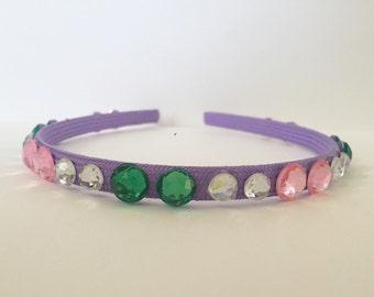 "Pink, Green and Purple Hard Headband - ""Pretty Pattern Headband"""