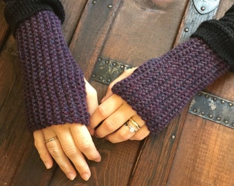 Wool Knit Fingerless Gloves - Passion Heather/Purple