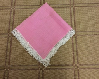 Pretty in Pink Vintage Hankie