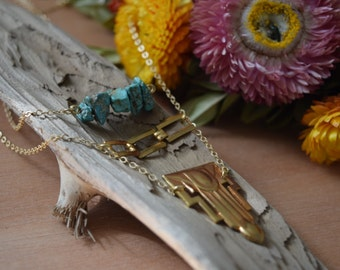 Turquoise and Gold Accents Necklace