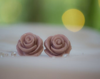 Rose-Water Large Rose Earrings