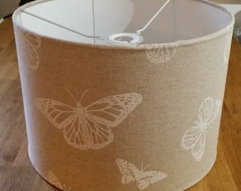 Drum Lampshade - Butterfly Print in White