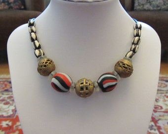 """8. Ghanaian Bead African Inspired Necklace on Leather Cord 20"""""""
