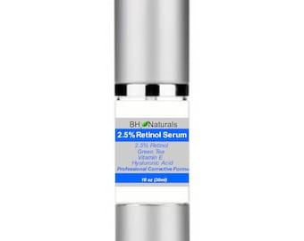 Retinol 2.5% Serum Organic 1oz Wrinkles Fine Lines 72 percent Organic 98 percent natural clinical Strength