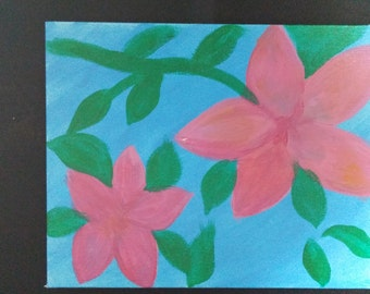 Pink Flowers Acrylic on 8x10 Canvas Panel