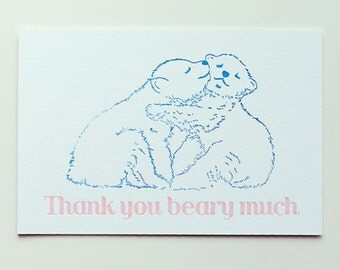 Thank you beary much letterpress postcard