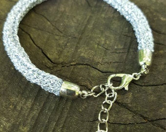 Silver Sparkly Knitted Bracelet
