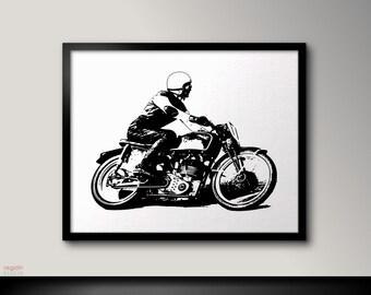 Vintage Cafe racer art, Motorcycle art, Black and white prints, Motorcycle print, Motorcycle poster, Motorcycle print, Black and white art