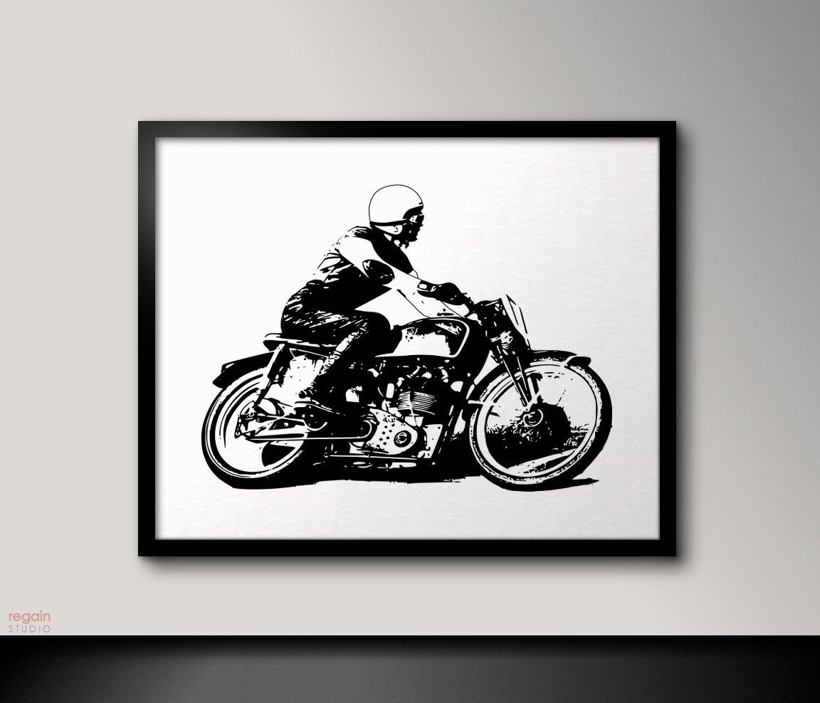 Uncategorized Motorcycle Pictures To Print vintage cafe racer art motorcycle black and white