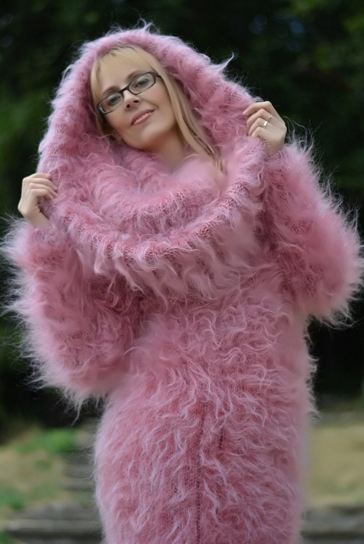 ORDER hand knitted dress fuzzy mohair dress handmade cowlneck