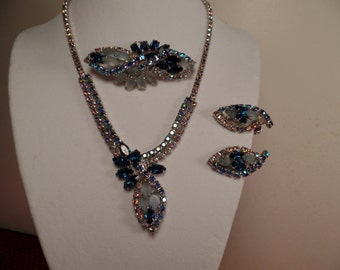 1950's Set with Blue Rhinestones and Serious Sparkle!! WOW!