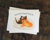 Funny Love, Valentine, Anniversary Card - Cute Cats Let's Get Cozy & Stay In