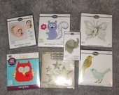 Lot of Sizzix Bigz BIGkick Big Shot 7 Different Dies work with Cuttlebug Some RETIRED - butterfly, squirrel w/ flower, birds, elephant more